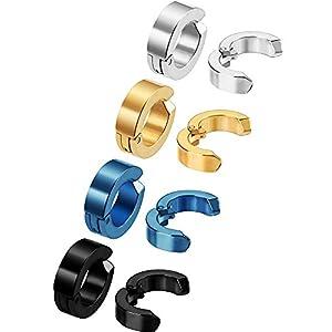 8 Stück Non-Pierced Ohrringe Ohrklemmen Falsch Ohr Hoop für Herren und Damen, Edelstahl, 4 Farben