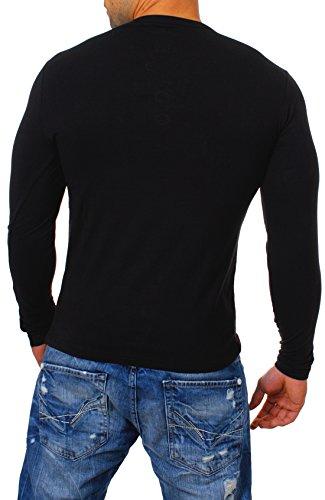 Young & Rich Herren Longsleeve Langarm T-Shirt Knopfleiste mit Extra Großen Metall Knöpfen Slimfit Big Buttons 2872 Schwarz