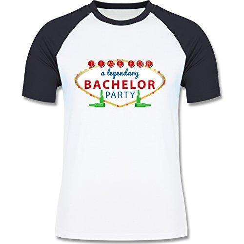 JGA Junggesellenabschied - Bachelor Party Schild - zweifarbiges Baseballshirt für Männer Weiß/Navy Blau