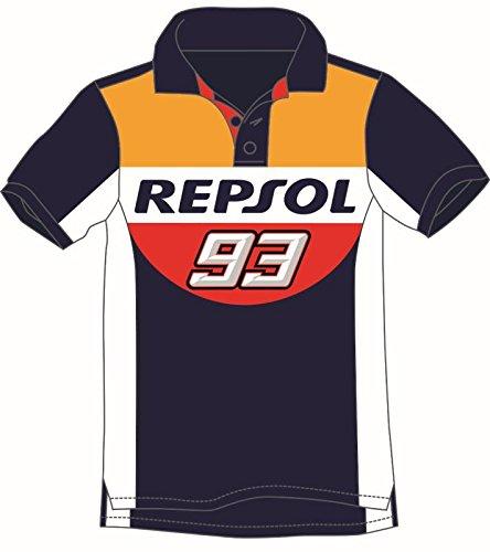 G/én/érique Honda Repsol Marc Marquez 93 Moto GP Panel Bleu Polo Chemise Officiel 2018