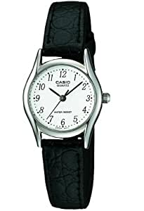 Casio Women's Quartz Watch with White Dial Analogue Display and Black Leather Strap LTP-1154E-7BER