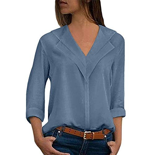 Camisas Mujer Tallas Grandes,❤️ Modaworld Moda Camiseta sólida Mujer chifón Blusas de Oficina de Manga Larga Lisa de Mujer Elegantes de Vestir Fiesta Camisetas Chica (Cielo Azul, S)
