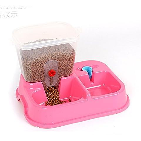 Creation Cuvette automatique d'alimentation d'eau potable d'animal familier, nourriture d'alimentation pour le chat de chien d'animal familier (Rose)
