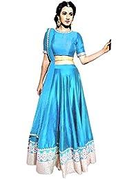 Muta Fashions Bangalori Silk Sky Blue Women Lehenga
