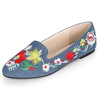 Allegra K Women's Slip on Embroidery Flat Loafers Denim Blue 7 UK/Label Size 9 US