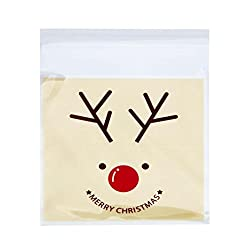 Elk : Tonsee 100Pcs/Set OPP Bags Christmas Snowman Cake Gift Packaging Candy Wrapping Paper Bags (Elk)