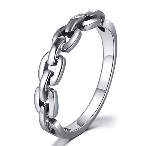 (Epinki 925 Sterling Silber Poliert Kette Ringe 4MM Damen Herren Antragsringe Retro Gothic Punk Biker Gr.62 (19.7))