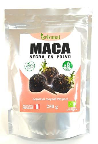 Maca Negra en Polvo. 250 gr. Sin procesar, Sin Gluten, Bio y Vegana. Energía, Fertilidad, Equilibrio Hormonal y Salud Sexual para Mujeres y Hombres