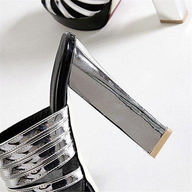 LvYuan Sandali-Formale Casual Serata e festa-Club Shoes-Quadrato-Tulle Finta pelle-Argento Dorato Silver