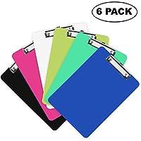 Portapapeles de Plástico (Pack de 6) - 31,5cm x 22,5cm - Colorido Sujeta Papeles A4 con Resistente Resortey y Gancho para Colgarlo - Carpeta Clip Opaca Duradera Perfecta para Oficina y Escuela
