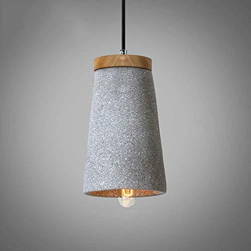 NMDD Retro Industrie Einstellbare Zement Hängeleuchte, Terrazzo Holz Pendelleuchte, Einfache Art Deco Kronleuchter Deckenleuchte für Flur Wohnzimmer Schlafzimmer (Farbe: Grau)