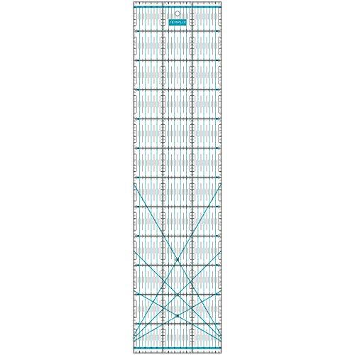 SEMPLIX Patchwork-Lineal Quilt-Lineal, transparent, mit cm-Skala und Winkelfunktionen, ideal für Patchwork und zum Basteln, 60 x 15 cm (türkis)