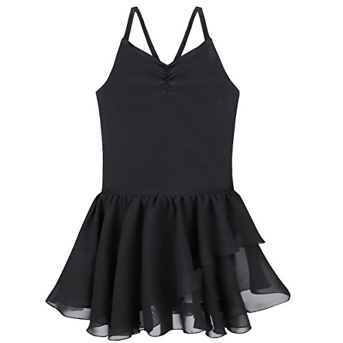 Tiaobug Mädchen Kinder Kleid Ballettkleid Ballettanzug Bodys Gymnastikanzug Turnanzug Trikot Tanzkleid (128-140, Schwarz (Spaghetti))