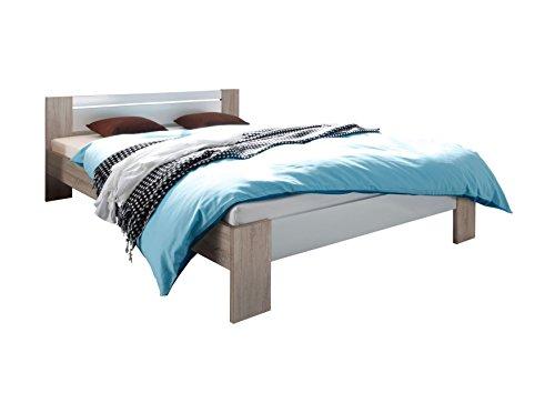 AVANTI TRENDSTORE - Pinto - Letto francese con materasso e rete a doghe incluso, disponibile in diversi colori, dimensioni: LAP 145x68x204 cm (Marrone chiaro)
