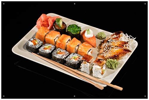 Wallario Garten-Poster Outdoor-Poster - Sushi-Menü mit Inside-Out Sushi, Nigiri und Wasabi in Premiumqualität, Größe: 61 x 91,5 cm, für den Außeneinsatz geeignet
