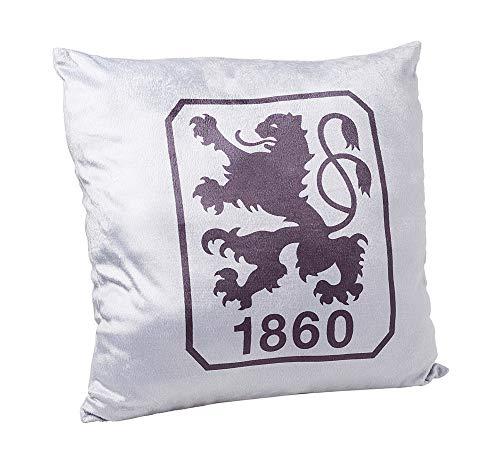 TSV 1860 München Kissen, Velourskissen Logo Grau