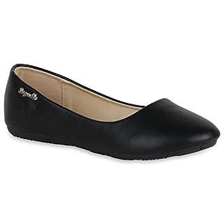 Klassische Damen Ballerinas Leder-Optik Flats Übergrößen Flache Slipper Spitze Prints Strass Schuhe 139512 Black 42 | Flandell®