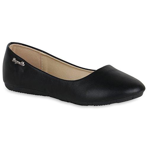 Klassische Damen Ballerinas Lederoptik Flats Übergrößen Flache Slipper Spitze Prints Strass Schuhe 139512 Black 38 | Flandell®