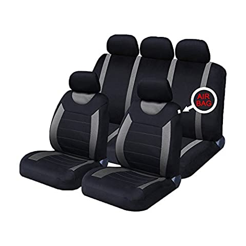 XtremeAuto® Carnaby Grey / Black Universal Car Seat Covers Set