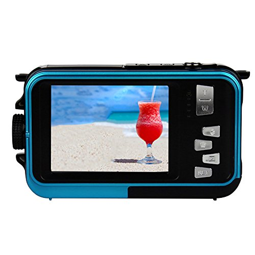 AMKOV Doppel Dual LCD Display Digital-Kamera Life Wasserdicht Selbstauslöser Video Pocket Mini Camcorder Recorder W599, Kinder, blau