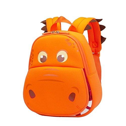 Yisibo Kinder Rucksack Kindergarten Umwelt Rucksäcke 3D Cartoon Niedlich Tier Schule Taschen Zoo Wandern Reisen Camping Kleinkind Sidekick Pack (Katze-Grau) Big Mouth Dinosaurier-Orange