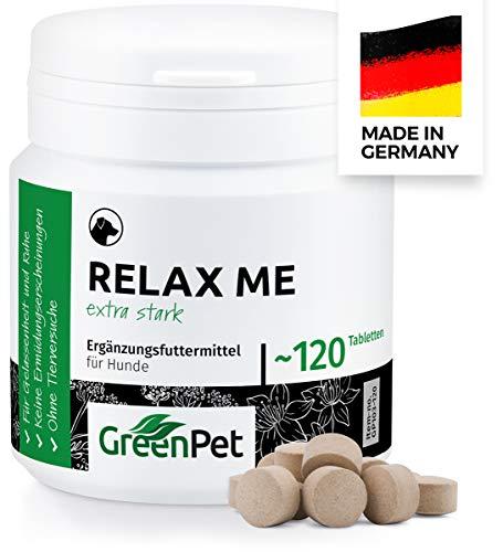 GreenPet Relax Me 120 Compresse per Cani, Integratore Calmante Extra Forte, Natural De-Stressing And Calming, Anti-Stress, Sedativo Naturale