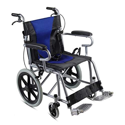 Sedia a rotelle pieghevole in acciaio for bambini, sedia a rotelle leggera, freni doppi, pneumatici pieni, adatta for uso domestico e medico (Colore : Blu)