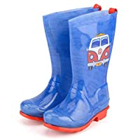 Volkswagen Boys PVC Welly - VW Kids On The Road Wellies - Blue & Red