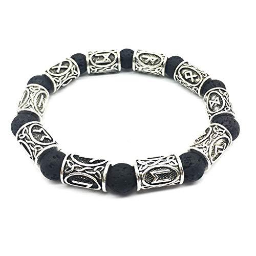 QueenYA Viking Norse Runes Vulkangestein Armband Damen Herren Norse Celtic Nordic Rune Talisman Armband Schmuck Viking Perlen Bärte Haar Ringe Perlen Antik DIY Armband Schmuck, Silber (Antike Perle Ring)