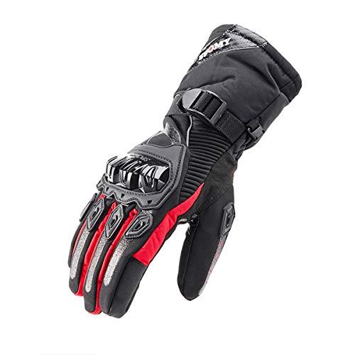 WXHXSRJ Guanti Invernali per Motociclismo - Guanto Touchscreen con Isolamento Termico Impermeabile Antivento per Esterno, per Arrampicata Escursionismo All'aperto,Rosso,L
