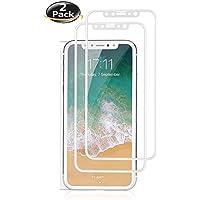 iPhone 10 iPhone X NOVAGO® Lot de 2 films protection écran en verre trempé ultra résistant couvre la totalité de l'écran (Blanc)
