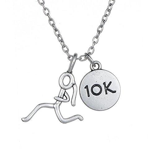 Minimale Stick Figur RUNNING Girl Run und 10K Anhänger Läufer Halskette