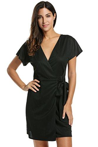 Meaneor Damen Kleid VAusschnitt Cocktailkleid Elegant Wickelkleid ...