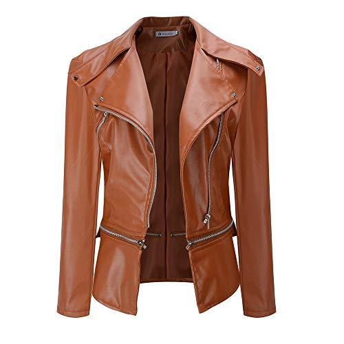 Eucoo giacche da donna autunno inverno casual giacca slim fit in pelle sintetica con cerniera e zip per motociclista
