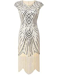 PrettyGuide Mujeres 1920 Gatsby diamante lentejuelas embellecido con flecos Vestido flapper