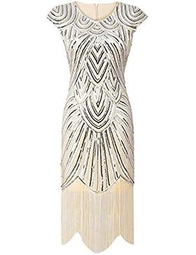 PrettyGuide Donne 1920 Eleganti Gatsby Diamante Paillettes Impreziosito  Frange Vestito Da Sera a1dc7a9f50f