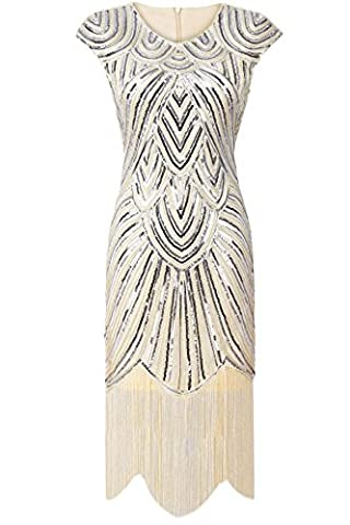 PrettyGuide Femmes 1920 Gatsby Diamant Paillette Agrémentée Frange Sparkly Garçonne Robe Beige M