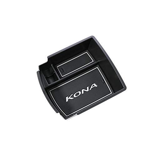 RUIYA Central Console Armlehne Box Angepasst für 2018 Hyundai Kona, Aufbewahrungsbox Console Organizer Insert Tray, Autozubehör (Schwarz und Weiß)