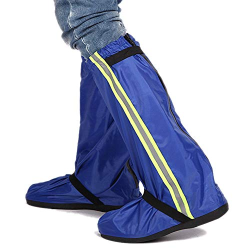 No brand Copriscarpa Ciclismo Scarpe da Uomo e da Donna Set da Moto Snow Riding Oxford Stivali da Pioggia in Tessuto Set Suole Antiscivolo Escursionismo (Colore : Blu, Dimensione : L)