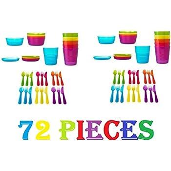 2XKALAS Children Color Bowl Tumbler and Plate Sets X6 Each