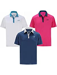 Woodworm Golf Clothes Solid Tech Mens Polo Shirts – 3 Pack