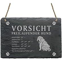 Schiefertafel « SHAR-PEI - VORSICHT FREILAUFENDER HUND » ca.22 x 16 cm - Schild mit Hund