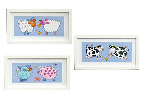 BD ART 3er Set Deko-Bilderrahmen fürs Kinderzimmer, Geschenk, Poster fürs Kinderzimmer und den Bilderrahmen, Babyzimmer Bilder, Mädchen Junge Deko, Dekoration Kinderzimmer Kuh + Schaf + Ferkel