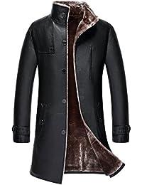 moxishop Herren Schwarz Gothic Windbreaker Schaffell Leder Slim Fit Outwear schwere Lange Trenchcoat Mantel Lammwolle Gefüttert