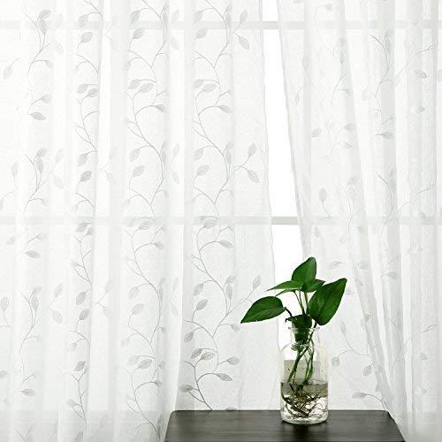 Deconovo tende voile ricamate foglie pattern tende trasparenti con occhielli per bambini 140x260 cm bianco 2 pannelli