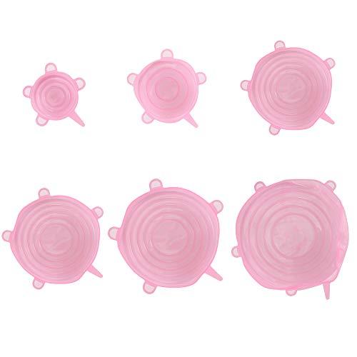 Coperchi elasticizzati in silicone, 6 pezzi mantenimento di alimenti freschi riutilizzabili coperchi resistenti e sigillanti in silicone espandibili durevoli copri ciotola eco-friendly stretch