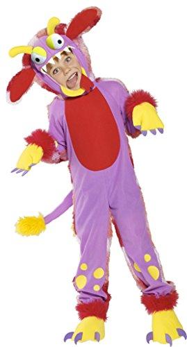 Pink Kostüm Monster Mädchen - Smiffys Kinder Unisex Lustiges Monster Kostüm, Bodysuit, Kopfteil, Überschuhe und Handschuhe, Größe: T2 (Kleinkind Medium), 36179