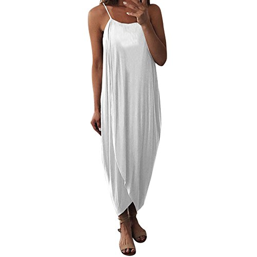 Markthym Damen Sommerkleider Kleiden Frauen-Kleid-Sommer-lose Riemen-eleganter Feiertags-beiläufiges Partei-Strandkleid Ärmelloses Trägerarmband der Frauen unregelmäßiges geteiltes weißes XL