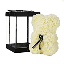 NWSX Rose Bear Flower Bear Perfect for Anniversary's, Rose Teddy Bear Mothers- Clear Gift Box Included! 10 Inches Tall - Over 200+ Flowers (milk white, 10in)