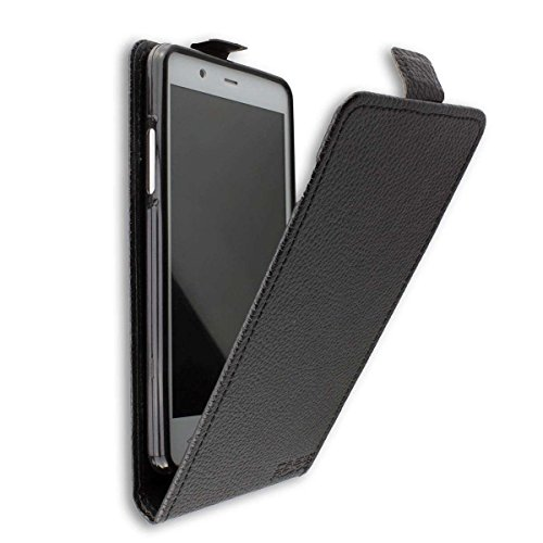 caseroxx Hülle/Tasche Flip Cover schwarz + Bildschirmschutzfolie für Archos 50 Titanium 4G, Set bestehend aus Flip Cover & Bildschirmschutzfolie